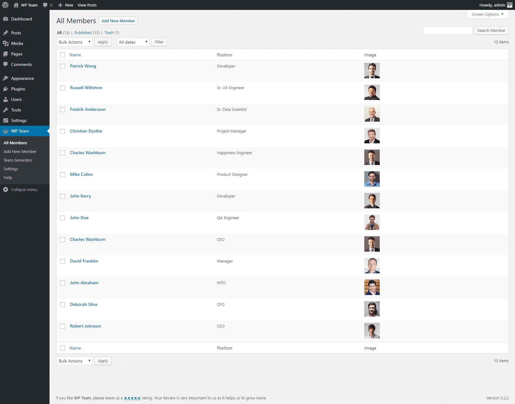 All Members (Admin view)